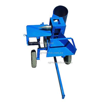 Измельчитель веток + дровокол для мототрактора (без конуса, односторонняя заточка ножей)