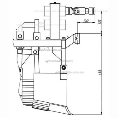 Картофелекопалка для мотоблока с ходоуменьшителем (под ВОМ, 2-х эксцентриковая, пониж редуктор)