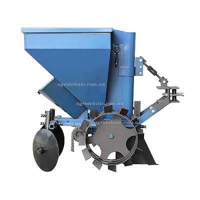 Картофелесажалка однорядная для мототрактора с бункером для удобрения