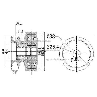 Муфта сцепления со шкивом на двигатель (вал 25,4 мм)